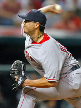 Josh Beckett delivered a pitch in the game.