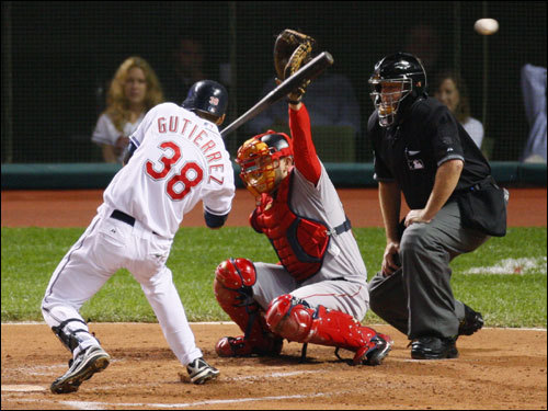 Indians hitter Franklin Gutierrez ducked out of the way of a pitch from Josh Beckett in the second inning.