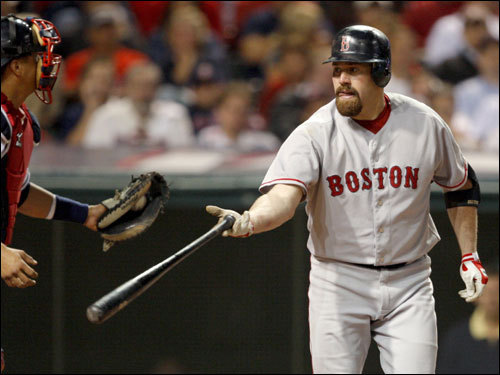 Kevin Youkilis walked with the bases loaded in the seventh inning.