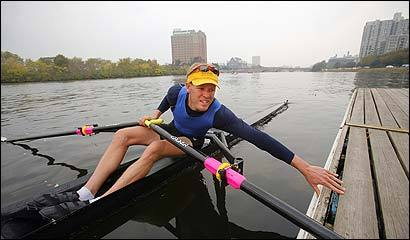 Patrick O'Hea of California, who is competing in the Head of the Charles, yesterday on the river. Federal and state studies warn that the river is threatened by phosphorus pollution, which can cause toxic algae blooms.