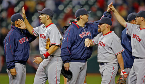 The Red Sox celebrated their win in Game 5 and a trip back to Fenway Park for Game 6 Saturday.