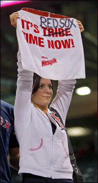 This Red Sox fan got a little creative with her complimentary Indians towel.