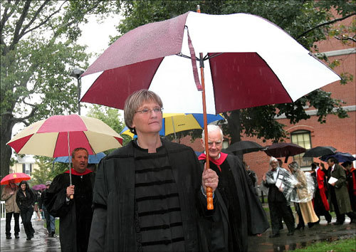 A procession of former Harvard University presidents, including Lawrence Summers (left) and Derek Bok (right), followed Drew Gilpin Faust (center) to the Tercentenary Theatre, where Faust was inaugurated as the university's 28th president.