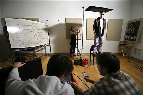 Students worked in a lighting class in the Center for Digital Imaging Arts at Boston University. The students' assignment was to re-create a real-world scene inside the studio. Clockwise from top left are: Hanna Denison, 18, Simon Werdmuller von Elgg, 18, Neil Orchard, 18, and Bryan Lee, 18.
