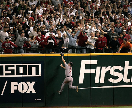 Red Sox outfielder J.D. Drew climbed the wall but was unable to bring back Kenny Lofton's two-run home run in the second inning.