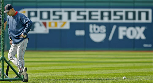 Red Sox manager Terry Francona patrolled the outfield during a Red Sox workout at Jacobs Field.