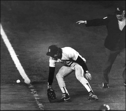 Red Sox Bill Buckner famously booted a ball against the Mets in the bottom of the 10th inning in Game 6 of the 1986 World Series at Shea Stadium. The error resulted in a 6-5 10th inning win for the Mets. The Sox would go on to lose Game 7 two days later, 8-5.