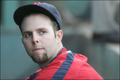 Second baseman Dustin Pedroia sat at Fenway Park before Game 6 of the ALCS Saturday night.