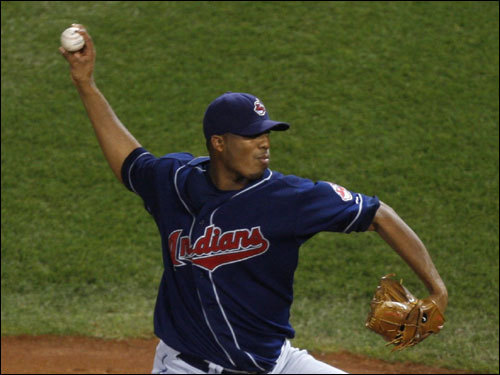 Indians starter Fausto Carmona delivered a pitch in the first inning.