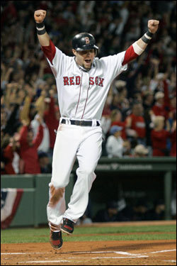 Dustin Pedroia cheered as he crossed the plate on the grand slam by J.D. Drew (not pictured) in the first inning.