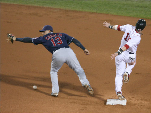 Sox second baseman Dustin Pedroia (right) was safe at second as Asdrubal Cabrera (left) dropped the ball.