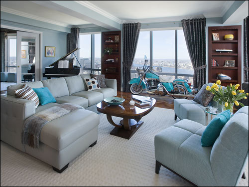 Suburban auto dealer Brian Kelly's glamorous apartment in the Residences at the Ritz-Carlton Towers.