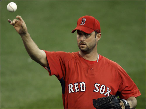 Tim Wakefield threw in the outfield prior to the start of Game 7 of the ALCS.