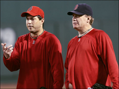 Winners of the last two games for the Red Sox Josh Beckett (left), and Curt Schilling (right) stood on the field before the game.