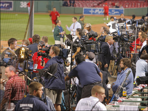 A large contingent of media was on the field before the game.