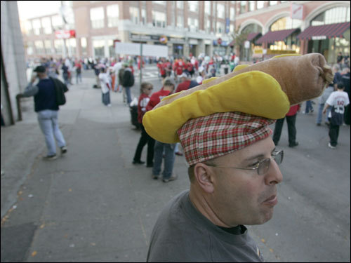 Dave Vietra advertised his hot dogs and sausages by wearing a hot dog hat outside Fenway Park.