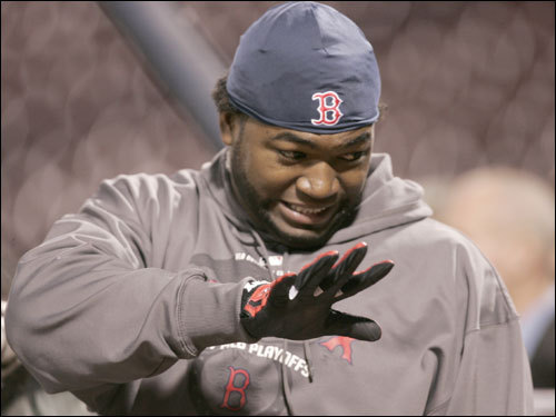 David Ortiz was on the field for pregame warmups before Game 7 of the ALCS against the Indians.