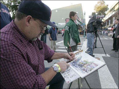 Artist Jim Bryant of Thomas Kinkade Company painted outside of Fenway Park before the game.