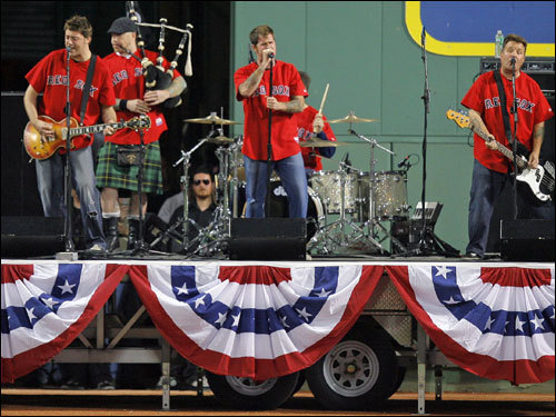 The Dropkick Murphys performed in center field before the start of Game 7 of the ALCS.
