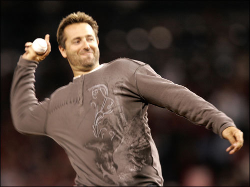 Former Red Sox first baseman Kevin Millar threw out the ceremonial first pitch.