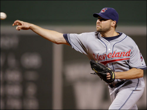 Indians starter Jake Westbrook delivered a pitch in the first inning.