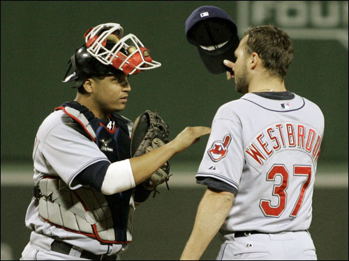 Indians catcher Victor Martinez (left) and Jake Westbrook (right) talked after Westbrook loaded the bases in the first inning.