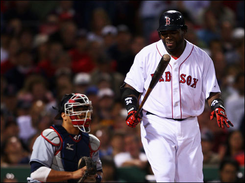 David Ortiz reacted to striking out in the first inning.