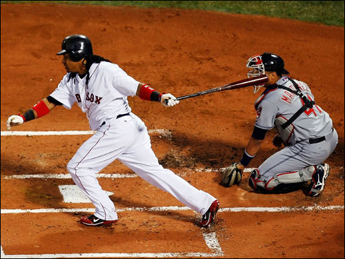 Manny Ramirez followed through on his RBI-single in the first inning.