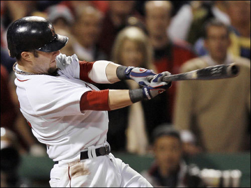 Dustin Pedroia delivered a knockout punch with a bases loaded double that scored three in the eighth inning.