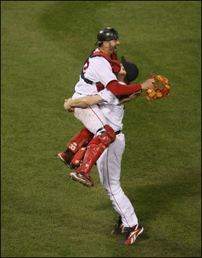 After the final out Red Sox catcher Jason Varitek jumped into the arms of Jonathan Papelbon to celebrate the win in Game 7 of the ALCS.