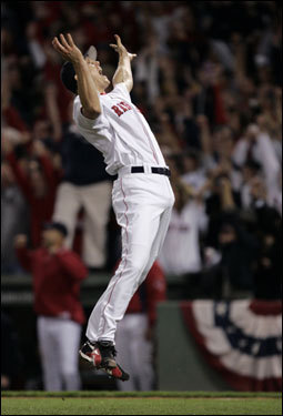 After the final out, Jonathan Papelbon leaped in the air and threw his glove to celebrate the Red Sox 11-2 win over the Indians in Game 7 of the ALCS.
