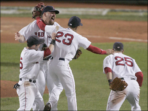 Red Sox players celebrated on the field.