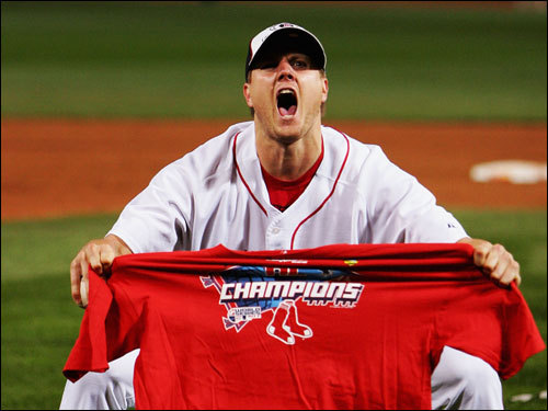 Red Sox closer Jonathan Papelbon celebrated on the field after the Red Sox won the AL pennant.