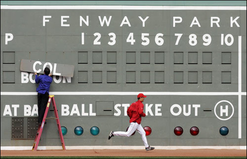 Sox pitcher Hideki Okajima ran in the outfield.