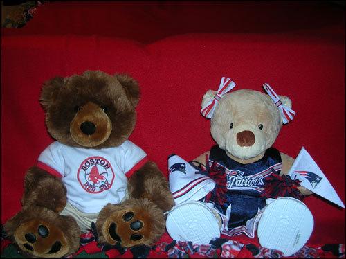Emily Babbitt's bears, Jason Bearitek and Cheery the Cheerleader.