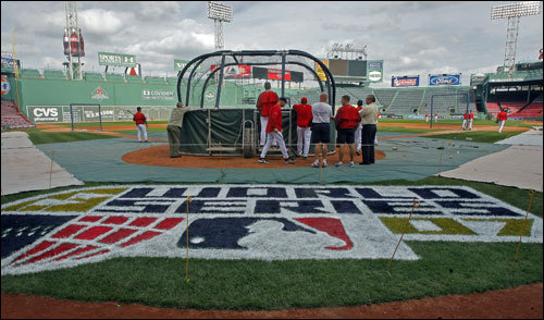 The World Series logo behind home plate at Fenway Park.