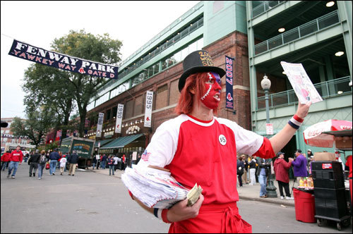 Vendors sell official programs outside the ball park prior to Game 1 of the World Series.