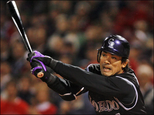 Rockies second baseman Kaz Matsui flailed at strike three in the first inning.