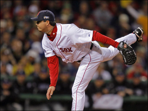 Josh Beckett struck out all three batters he faced in the first inning.