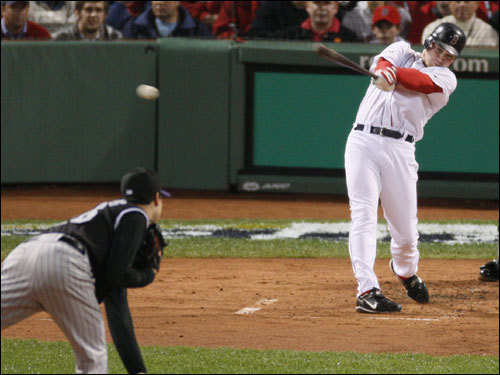 Red Sox right fielder J.D. Drew hit an RBI double in the first inning.