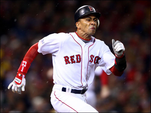 Red Sox shortstop Julio Lugo ran hard to first base but was thrown out to end the first inning.