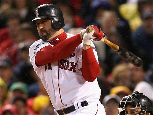 Red Sox catcher Jason Varitek stroked a single in the first inning.