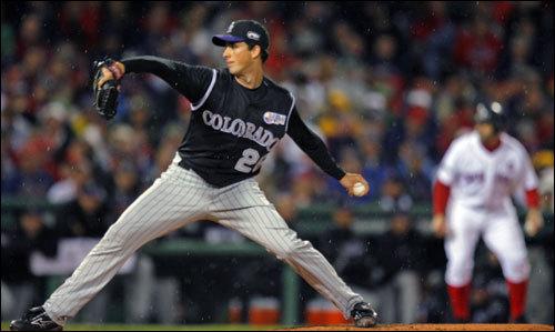 Francis delivered a pitch with Jason Varitek at third base.