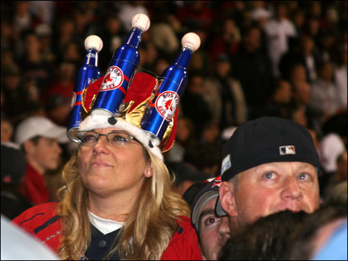 Corey McKinstry, from Charlton, made what she called a 'king of baseball' crown out of beer bottles for Game 1.