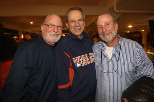 Elliot Tatelman (left) and Barry Tatelman (right) of Jordan's Furniture fame hung out with Red Sox president Larry Lucchino.