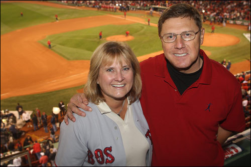 Shelia and John Papelbon, Jonathan Papelbon's parents, took in the atmosphere before the game.