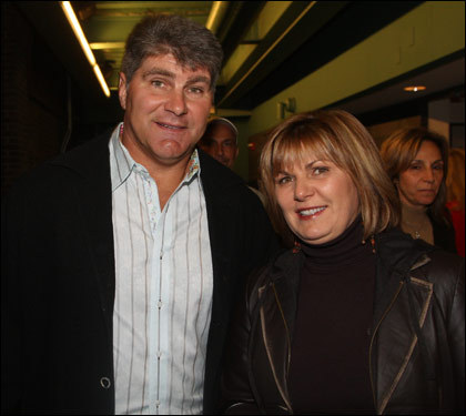 Former Bruin Ray Bourque and wife, Christine, posed in the stands at Fenway.