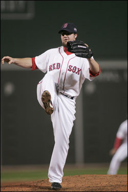 Eric Gagne, in for mop-up duty in the ninth, reacted after the last out of the game.