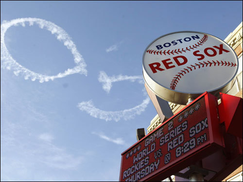 A skywriter showed support for the Red Sox.