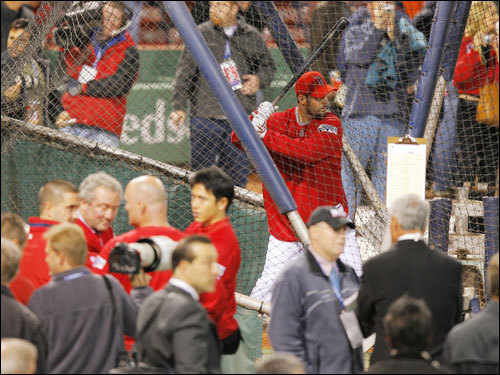 Mike Lowell hit in the cage during batting practice.
